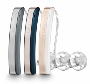 A Group of Signia Styletto Hearing Aids in 3 different color combinations